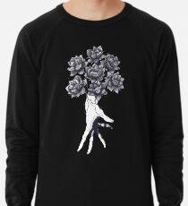 Hand with lotuses on black Lightweight Sweatshirt