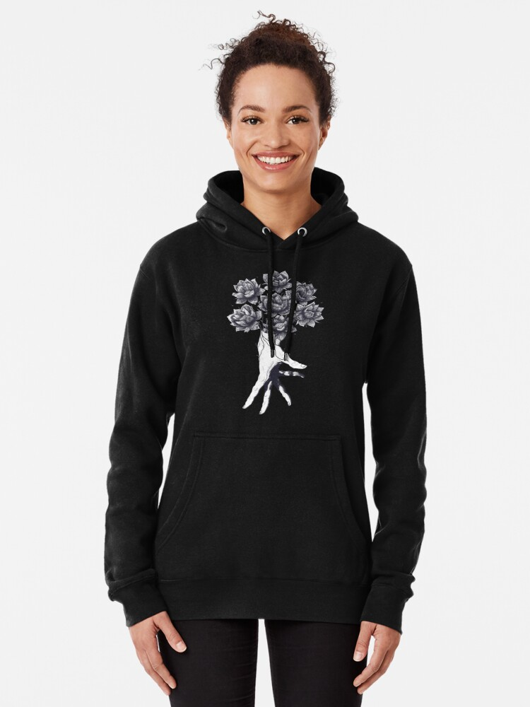 Alternate view of Hand with lotuses on black Pullover Hoodie