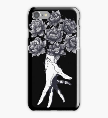 Hand with lotuses on black iPhone Case/Skin