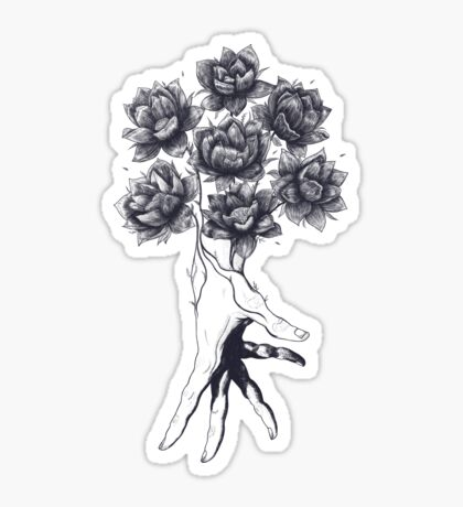 Hand with lotuses on black Sticker