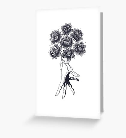Hand with lotuses on black Greeting Card