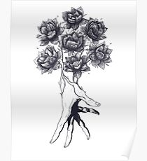 Hand with lotuses on black Poster