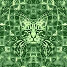Cat in green #Art by blackhalt