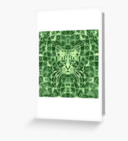 Cat in green #Art Greeting Card