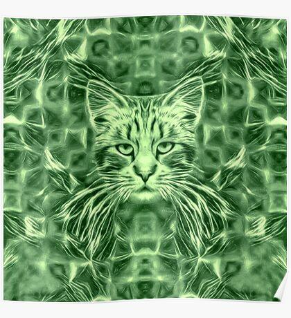 Cat in green #Art Poster