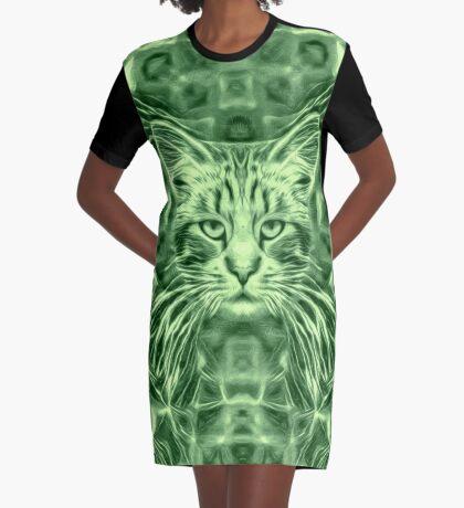 Cat in green #Art Graphic T-Shirt Dress