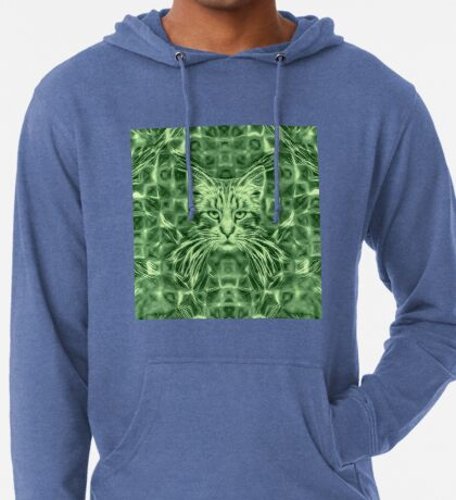 Cat in green #Art Lightweight Hoodie