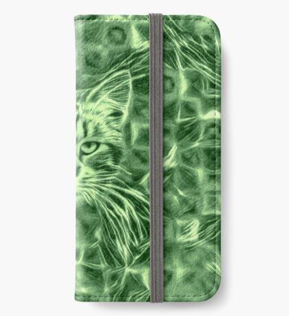 Cat in green #Art iPhone Wallet