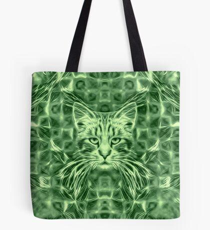 Cat in green #Art Tote Bag