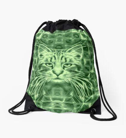 Cat in green #Art Drawstring Bag