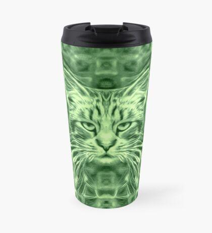 Cat in green #Art Travel Mug
