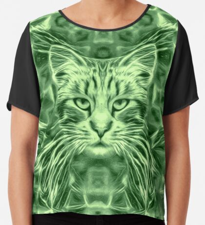 Cat in green #Art Chiffon Top