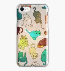 Space Cats - Blue Green Yellow Galaxy Stars Star Kitty Cat Pattern iPhone Case Cover iPhone Case/Skin