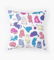 Space Cats - Blue Pink Purple Cat Galaxy Stars Star Kitty Cat Pattern iPhone Case Cover Throw Pillow