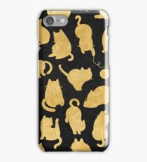Cats - Yellow Gold Bronze Copper on Black Kitty Pattern iPhone Case/Skin