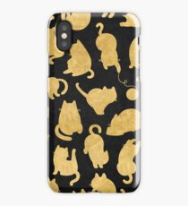 Cats - Yellow Gold Bronze Copper on Black Kitty Pattern iPhone Case