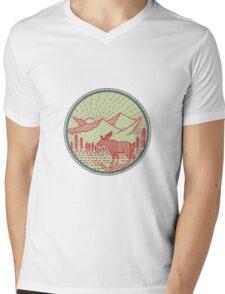 Moose River Mountains Sun Circle Retro Mens V-Neck T-Shirt