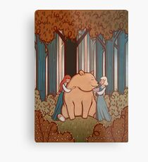 Snow White and Rose Red Metal Print