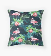 Bright Flamingos Throw Pillow