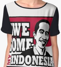 Jokowi - Indonesia, awesome president with red white flag background Chiffon Top
