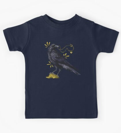 Crow with golden eye Kids Clothes