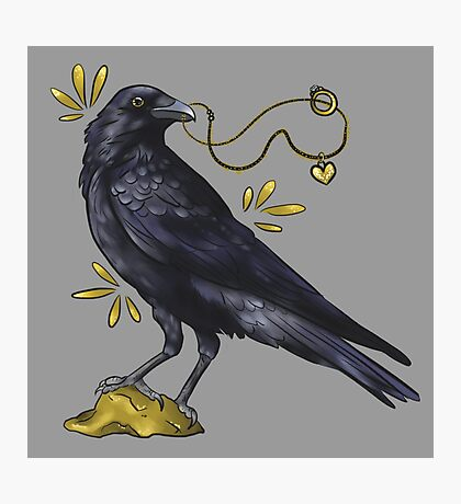 Crow with golden eye Photographic Print