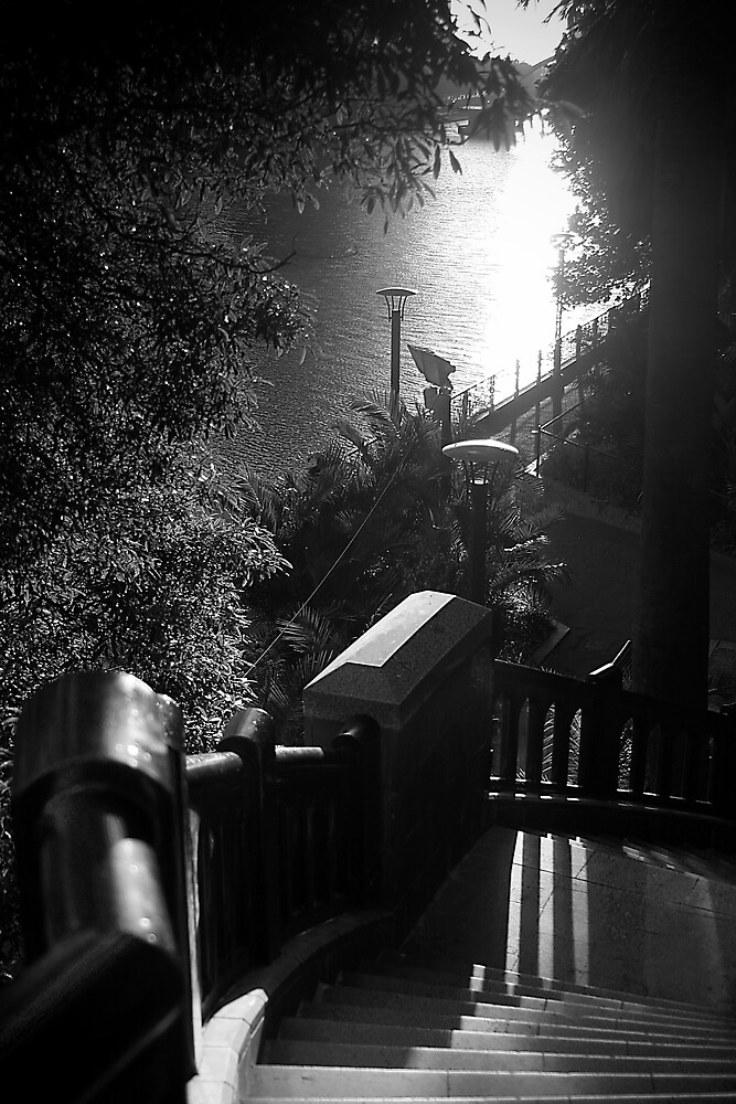 Sunsets and Stairs Black and white by Phoonaz