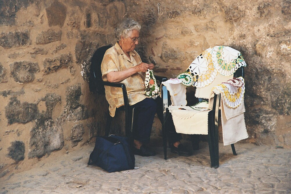 Lady knitting lace, Portugal by Rachel Gellert
