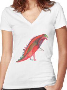 Red Dinosaur Women's Fitted V-Neck T-Shirt
