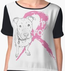 Dog Pitbull Breast Cancer - Pits for Tits T-shirts Chiffon Top