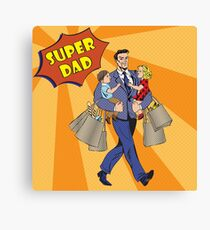Super Dad with kids on his hands and Shopping Bags. Happy Father Canvas Print