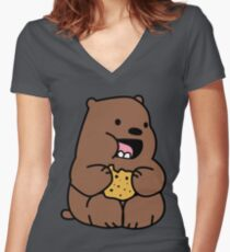 Grizzly Bears Cookies Women's Fitted V-Neck T-Shirt