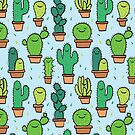 Cute Happy Cactus Cacti Pattern Light Blue by Claire Lordon