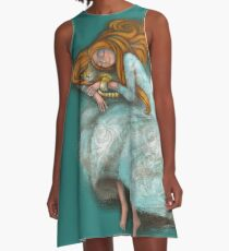 Sleeping with cat A-Line Dress