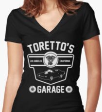 Toretto's Garage Women's Fitted V-Neck T-Shirt