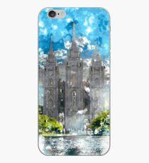 Salt Lake LDS Temple Watercolor Photo iPhone Case