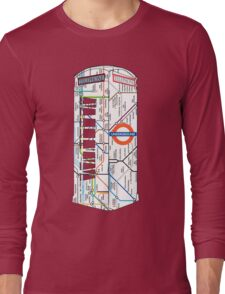 The Red Telephone box with the tube, underground Long Sleeve T-Shirt
