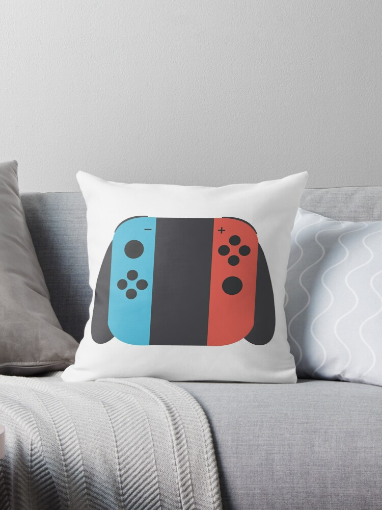 smooth shapes blue red joycons throw pillows by squid maker