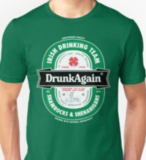 Saint Patrick's Day Drunk Again Beer Label T-Shirt