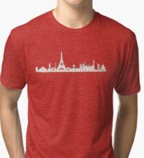 the Paris Metro system with the Paris skyline Paris, France, subway map Tri-blend T-Shirt