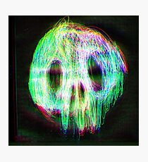 Neon Skull Black Photographic Print