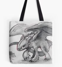 Toothless Pencil Drawing Tote Bag