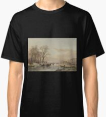 Andreas Schelfhout - A Frozen Canal Near The River Maas 1867 Classic T-Shirt