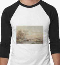 Andreas Schelfhout - A Frozen Canal Near The River Maas 1867 T-Shirt