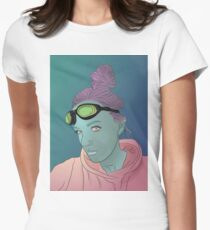 Alien green skin girl portrait with pink hair and googles Womens Fitted T-Shirt