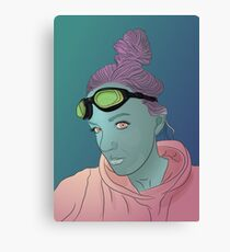 Alien green skin girl portrait with pink hair and googles Canvas Print