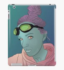 Alien green skin girl portrait with pink hair and googles iPad Case/Skin