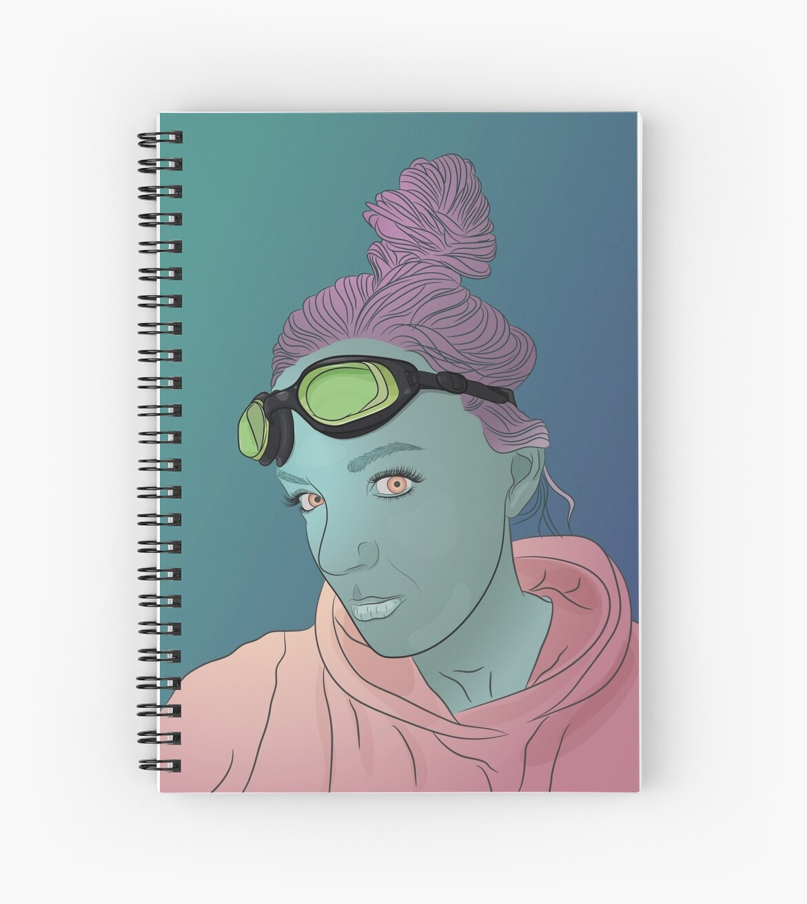 Alien green skin girl portrait with pink hair and googles by TorriPhoto