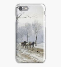 Anders Andersen - Lundby - An Extensive Winter Landscape With A Horse And Cart iPhone Case/Skin
