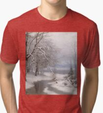 Anders Andersen - Lundby - A Wooded Winter Landscape Tri-blend T-Shirt